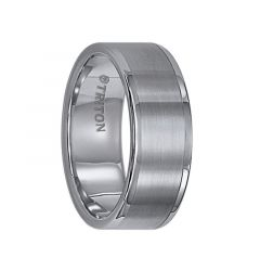 FAIRFAX Flat Tungsten Carbide Wedding Band with Satin Finish and Bright Polished Round Edges by Triton Rings - 8 mm