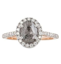 14k Rose Gold Oval Salt and Pepper Oval Diamond Ring with White Diamond Halo and Round Sidestones