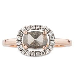 14k Rose Gold Squared Oval Salt and Pepper Diamond Ring with White Diamond Halo
