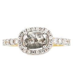14k Yellow Gold Squared Oval Salt and Pepper Diamond Ring with White Diamond Halo and Round Sidestones