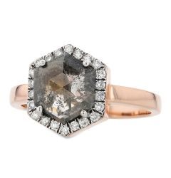 14k Rose Gold Hexagonal Salt and Pepper Diamond Ring with White Diamond Halo