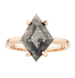14k Rose Gold Lozenge Shaped Salt and Pepper Diamond Ring