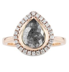 14k Rose Gold Pear Shaped Salt and Pepper Diamond Ring with White Diamond Halo