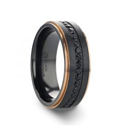 ASTRO Flat Brushed Black Titanium with Ring Rose Gold Plated Inside and Diamond Settings all around - 8mm