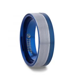 ATLANTIC Duo Color Brushed Center Tungsten Carbide Men's Wedding Band With Blue Ion Plating Inside the Band - 8mm