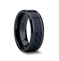 AVITUS Black Beveled Ceramic Ring with Blue & Black Carbon Fiber Inlay - 4mm - 10mm