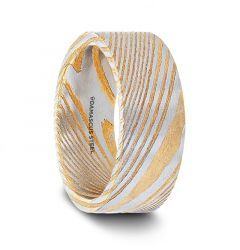 BISHOP Gold Color Flat Brushed Damascus Steel Mens Wedding Band with A Vivid Etched Design- 6mm & 8mm