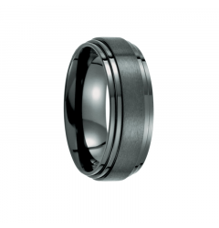 Brush Finished Black Titanium Polished Double Ridged Edges Men's Wedding Band - 8mm
