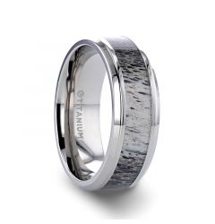 CARIBOU Polished Beveled Titanium Men's Wedding Band with Ombre Deer Antler Inlay - 8 mm