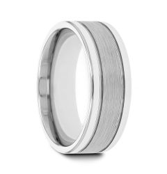 CHRONOS Flat with Offset Grooves Polished Edges and Satin Center Tungsten Band 6mm or 8mm