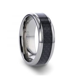 COLOSSEUM Black Carbon Fiber Inlay Titanium Wedding Band - 8 mm