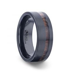 DARING Off-Set Koa Wood Inlaid Black Titanium Men's Wedding Band With Flat Polished Finish - 8mm