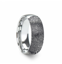 10k Fingerprint Ring White Gold Engraved Domed Brushed Band - 4mm - 8mm