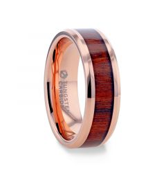 DYLAN Rose Gold Plated Koa Wood Inlaid Tungsten Men's Wedding Band With Beveled Polished Edges - 8mm