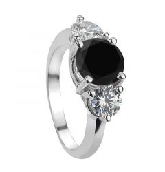CAMILLA Three-Stone Black Diamond Engagement Ring With Imitation Diamond on the Side