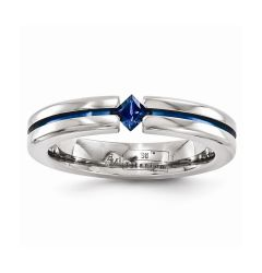 JUNEAU Titanium Ring with Sapphire And Blue Anodized Groove by Edward Mirell - 4 mm