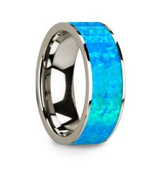 Flat 14k White Gold with Blue Opal Inlay and Polished Edges - 8mm
