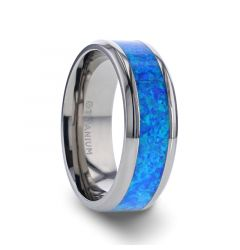 GALAXY Titanium Polished Beveled Edge with Blue Green Opal Inlay - 8 mm