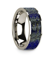 Flat 14k White Gold with Blue Lapis Lazuli Inlay and Polished Edges - 8mm
