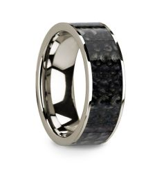 GAMAL Flat 14k White Gold with Blue Dinosaur Bone Inlay and Polished Edges - 8mm