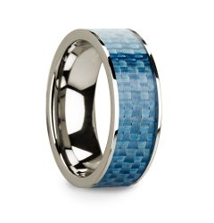 Flat 14k White Gold with Blue Carbon Fiber Inlay and Polished Edges - 8mm
