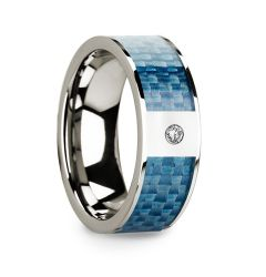 GARTH Flat 14k White Gold with Blue Carbon Fiber Inlay & White Diamond Setting - 8mm