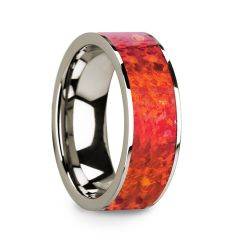 Polished 14k White Gold Men's Flat Wedding Ring with Red Opal Inlay - 8mm