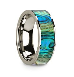 Flat 14k White Gold with Mother of Pearl Inlay and Polished Edges - 8mm