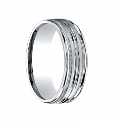 HALDEN Ribbed Palladium Ring with Dual Offset Milgrains by Benchmark