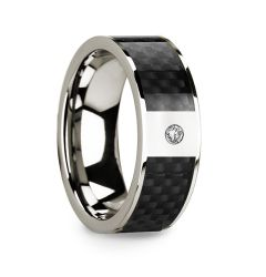 Black Carbon Fiber Inlaid 14k White Gold Polished Ring with Diamond Accent - 8mm