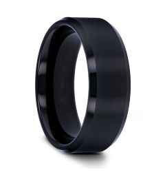 INFINITY Black Tungsten Ring with Beveled Edges - 4mm - 12mm