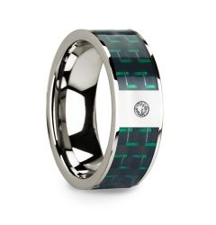 Diamond Accented 14k White Gold Men's Wedding Ring with Black & Green Carbon Fiber Inlay - 8mm
