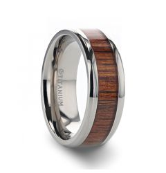 KOAN Titanium Polished Finish Koa Wood Inlaid Men's Wedding Ring with Beveled Edges - 6mm 8mm