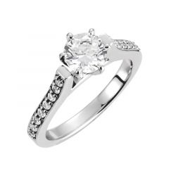 LORRAINE Beauty Cathedral Pavé Engagement Ring with Round Center Stone - MADE WITH SWAROVSKI® ELEMENTS