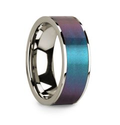 Blue & Purple Color Changing Inlaid Polished 14k White Gold Men's Wedding Ring - 8mm