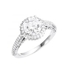 MADELEINE Halo Style Four Prong Engagement Ring with Round Stone Setting - MADE WITH SWAROVSKI® ELEMENTS