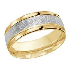 MALO 18K TWO TONED GOLD BAND WITH SCRATCH WHITE GOLD INLAY - 8mm