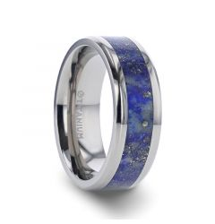 MALONE Men's Titanium Wedding Ring with Blue Lapis Inlay & Beveled Edges - 8 mm