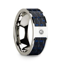 Diamond Center 14k White Gold Men's Wedding Ring with Blue & Black Carbon Fiber Inlay - 8mm