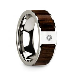 Men's Polished 14k White Gold & Black Walnut Inlay Wedding Ring with Diamond - 8mm