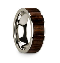 Polished 14k White Gold Men's Ring with Black Walnut Wood Inlay 8mm