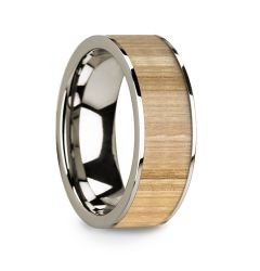Polished 14k White Gold Men's Wedding Ring with Ash Wood Inlay - 8mm