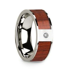 Men's 14k White Gold Polished Wedding Ring with Padauk Wood Inlay & Diamond - 8mm