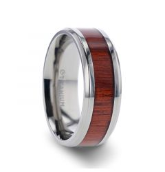 NORRO Titanium Polished Beveled Edges Padauk Wood Inlaid Men's Wedding Band - 6mm 8mm