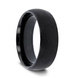 OBSIDIAN Domed Black Tungsten Carbide Ring with Sandblasted Crystalline Finish - 4mm 6mm 8mm