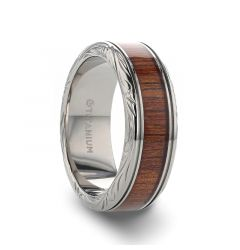 OHANA Koa Wood Inlaid Titanium Men's Wedding Ring with Intricate Edges - 6mm - 10mm
