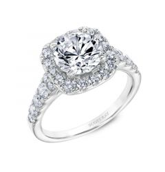 Ladies engagement Ring With Cushion Shaped Diamond Halo and Diamond Shank By Scott Kay