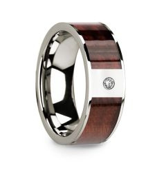 Redwood Inlaid Polished 14k White Gold Men's Wedding Ring with Diamond Center - 8mm