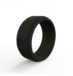 QALO Men's Black Step Edge Silicone Band