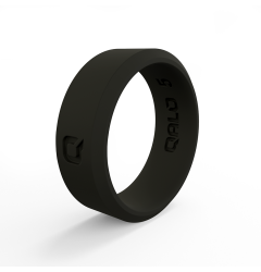 QALO Black Modern Beveled Silicone Band